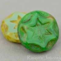 Scalloped Coin with Star (16mm) Mixed Beads Silk Opaque with Picasso