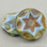 Scalloped Coin with Star (16mm) Grey Jet Mix Tiger's Eye Silk with Picasso