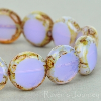 Lentil Coin (11mm) Lilac Opaline with Picasso