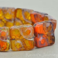 Yin Yang Square (11mm) Orange Topaz Mix Opaque Transparent with Picasso