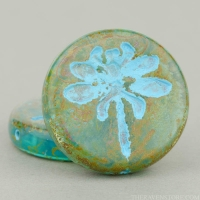 Dragonfly Pressed Coin (23mm) Blue Aqua Transparent with Picasso Turquoise Wash