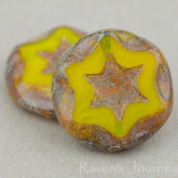 Scalloped Coin with Star (16mm) Yellow Opaline with Picasso