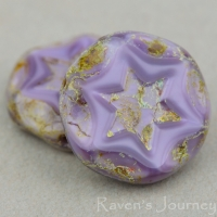 Scalloped Coin with Star (16mm) Purple Silk with Picasso