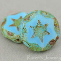 Scalloped Coin with Star (16mm) Aqua Opaline with Picasso