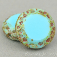 Mayan Sun (16mm) Blue Turquoise Opaque with Picasso