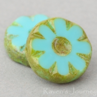 Medium Flower Coin (12mm) Turquoise Opaque with Picasso