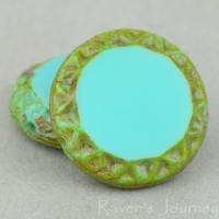 Mayan Sun (16mm) Turquoise Opaque with Picasso