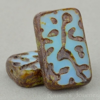 Groovy Rectangle (19x12mm) Aqua Blue Opaline with Picasso Finish