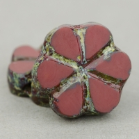 Small Flower (10mm) Brick Red Opaque with Picasso