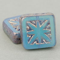 Square with Star (11mm) Blue Opaline with Bronze