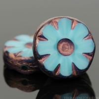 Medium Flower Coin (12mm) Turquoise Silk with Bronze Finish