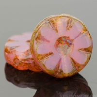 Medium Flower Coin (12mm) Pink Opaline with Picasso Finish