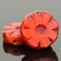 Medium Flower Coin (12mm) Orange Silk with Picasso Finish