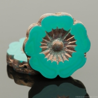 Hibiscus Flower (22mm) Turquoise Green Opaque with Bronze Finish