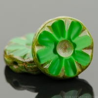Medium Flower Coin (12mm) Green Silk with Picasso Finish