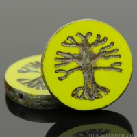 Tree of Life Coin (22mm) Gaspeite Green Opaque with Picasso Finish