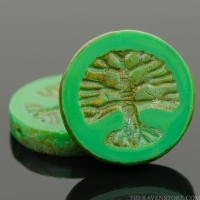 Tree of Life Coin (22mm) Retro Green Opaque with Picasso Finish