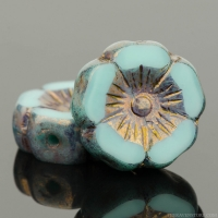 Hibiscus Flower (12mm) Mint Green Silk with Bronze Finish