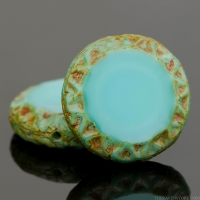 Mayan Sun (16mm) Turquoise Silk with Picasso Finish