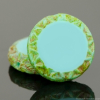 Mayan Sun (12mm) Turquoise Blue Opaque with Picasso Finish