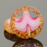 Mayan Sun (12mm) Crystal Transparent with Pink Stripe Mix and Picasso Finish