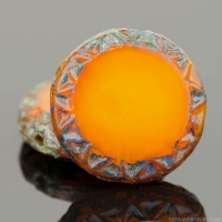 Mayan Sun (12mm) Orange Opaline with Picasso Finish