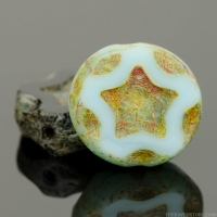 Coin with Star (11mm) Mixed Beads Turquoise and Jet Opaque with Picasso Finish