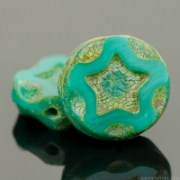 Coin with Star (11mm) Turquoise Green Opaque with Picasso Finish