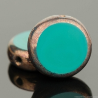 Lentil Coin (10mm) Turquoise Green Opaque with Bronze Finish