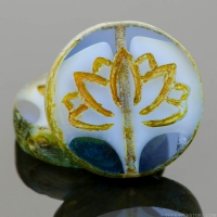 Coin with Lotus Flower (18mm) Sapphire Blue Transparent with White Core and Picasso Finish