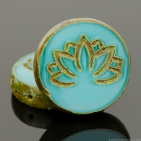Tablecut Coin with Lotus Flower (18mm) Turquoise Silk Picasso