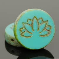 Tablecut Coin with Lotus Flower (18mm) Turquoise Opaque with Picasso Finish