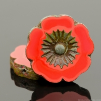 Hibiscus Flower (22mm) Red Coral Opaque with Picasso Finish