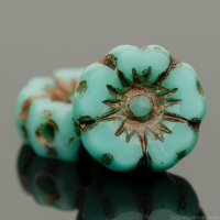 Hibiscus Flower (7mm) Turquoise Opaque with Dark Bronze Wash