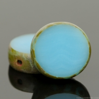 Lentil Coin (11mm) Sky Blue Opaque with Picasso Finish