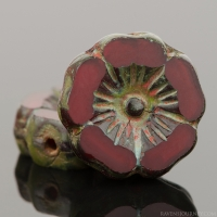 Hibiscus Flower (12mm) Red Opaline with Picasso Finish