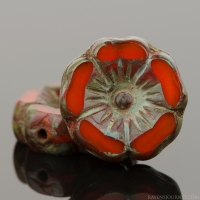 Hibiscus Flower (12mm) Orange Opaline with Dark Picasso Finish