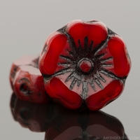 Hibiscus Flower (12mm) Red Opaline with Black Wash