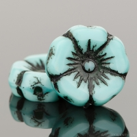 Hibiscus Flower (12mm) Turquoise Silk with Black Wash