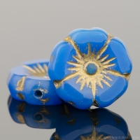 Hibiscus Flower (12mm) Lapis Blue Opaline with Gold Wash