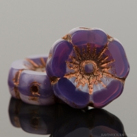 Hibiscus Flower (12mm) Purple Opaline with Dark Bronze Wash