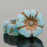 Hibiscus Flower (12mm) Aqua Silk with Dark Bronze Wash