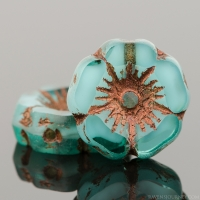 Hibiscus Flower (12mm) Aqua Green Transparent with Opaque White Core and Dark Bronze Wash