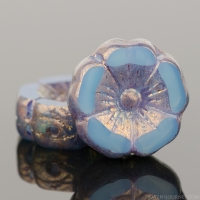 Hibiscus Flower (12mm) Aqua Blue Silk with Bronze Finish