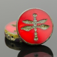 Table Cut Coin with Dragonfly (18mm) Burnt Orange Opaline with Picasso Finish