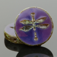 Table Cut Coin with Dragonfly (18mm) Purple Opaline with Picasso Finish