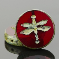 Table Cut Coin with Dragonfly (18mm) Red Opaline with Picasso Finish