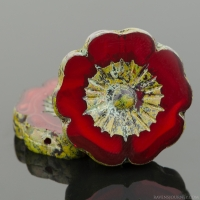 Hibiscus Flower (22mm) Red Opaline with Picasso Finish