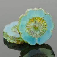 Hibiscus Flower (22mm) Aqua Opaline with Picasso Finish