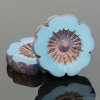 Hibiscus Flower (22mm) Aqua Blue Opaline with Bronze Finish
